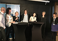 Professorerna Jeaneth Johansson och Jens Nygren, Högskolan i Halmstad. Paneldeltagare: Maria Kaaman, Vinnova, Flippa Kull, Stockholm Science City, Ylva Ryngebo, Medical Innovation Design, och Åsa Wallin, Swelife.
